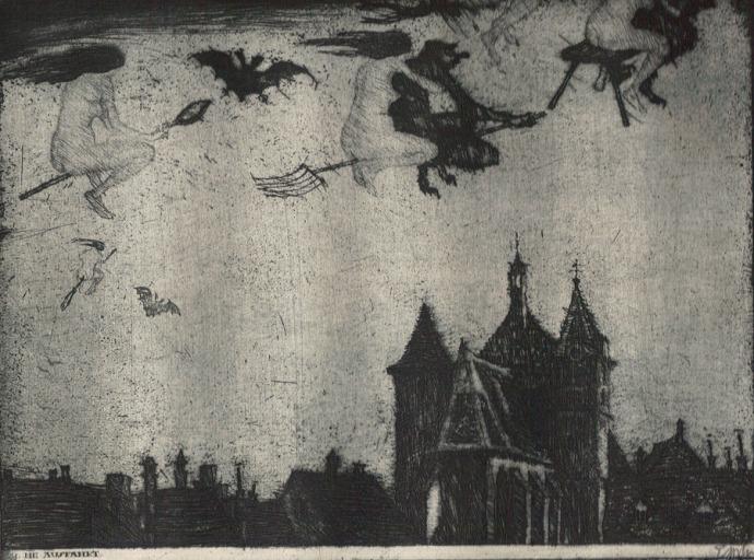 """Stefan Eggeler. Illustration for Gustav Meyrinks """"Walpurgisnacht"""". 1922."""