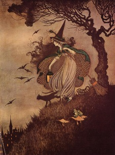 """""""The Little Witch"""" illustration from """"Elves and Fairies"""" by Ida Rentoul Outhwaite. 1916."""