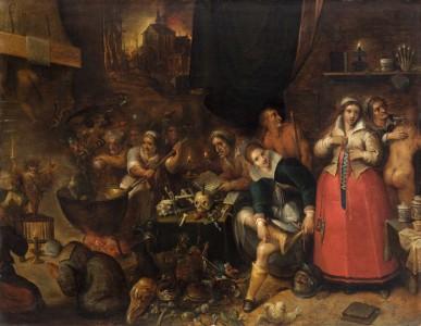 """Frans Francken II, """"Witches' Kitchen"""", Ca. 1610"""
