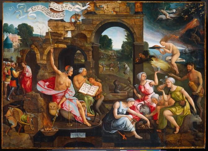 "Jacob Cornelisz. Van Oostsanen.""The witch of Endor"". 1526."
