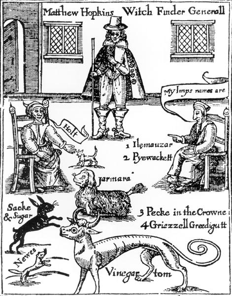 """Frontispiece to Matthew Hopkins' """"The discoverie of witches"""", 1647"""