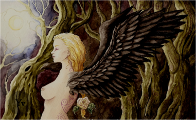 fantasy gothic wings female nude